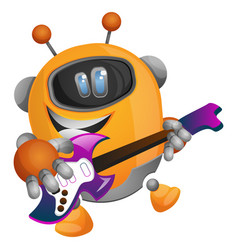robot playing guitar on white background vector image