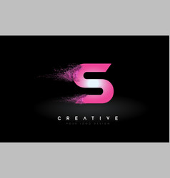 S letter logo with dispersion effect and purple vector