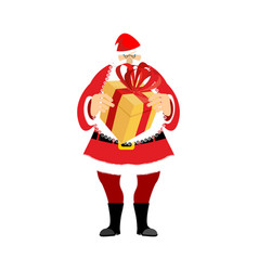 santa claus and gift box christmas and new year vector image