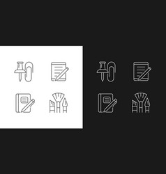 School stationery linear icons set for dark vector