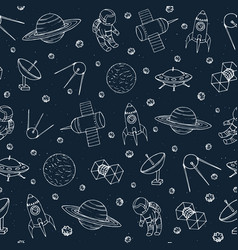 Seamless pattern with space elements vector