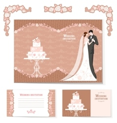 set wedding cards vector image