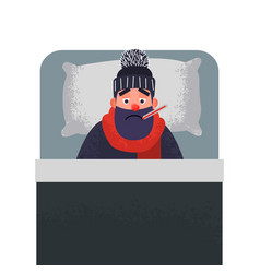 sick cold man in bed with a thermometer vector image