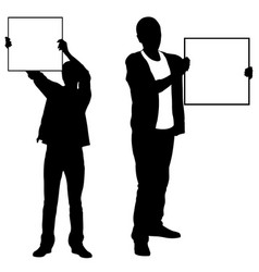 silhouettes of men holding panels vector image