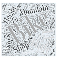 Sizing Mountain Bikes Word Cloud Concept vector
