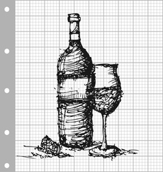 sketch drawing of wine on grey graph paper vector image