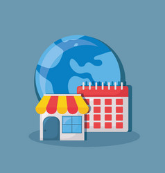 Store and earth planet design vector