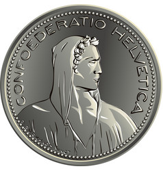 Swiss money 5 francs silver coin obverse vector