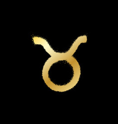 Taurus zodiac sign gold paint sprayed icon vector