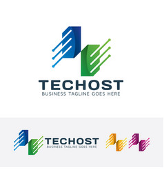 technology host logo design vector image