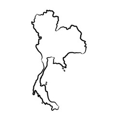 Thailand map from contour black brush lines vector