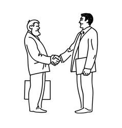 Two businessmen shaking hands vector