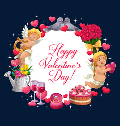 Valentines day cupids hearts ring and flowers vector
