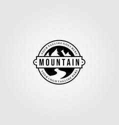 vintage mountain view logo designs with river vector image