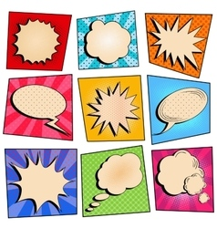Vintage pop art comic speech bubble set vector