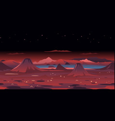 Volcanic landscape game background vector