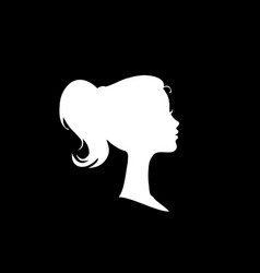 white profile silhouette of young girl or woman vector image