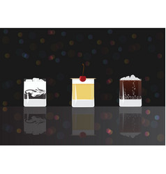 white russian whisky sour and cuba libre cocktails vector image