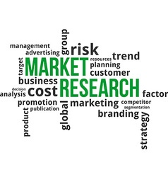 word cloud market research vector image vector image
