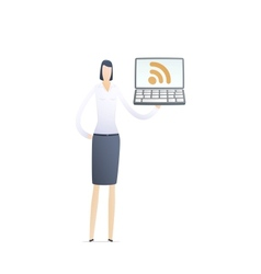 young business woman using rss vector image