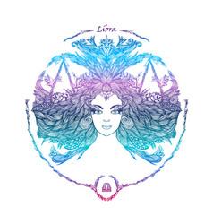 zodiac sign portrait a woman libra vector image