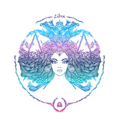 zodiac sign portrait of a woman libra vector image