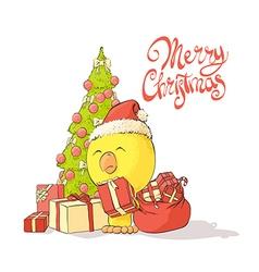 Chicken near a Christmas tree vector image vector image