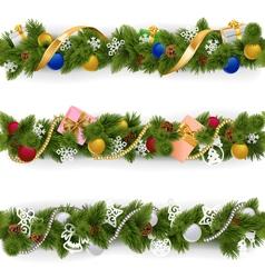 Christmas Border Set 6 vector image vector image