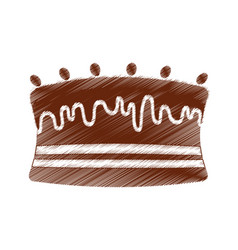 drawing cake chocolate sweet vector image vector image