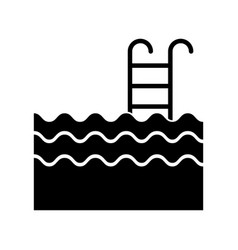 Pool with stairs icon vector