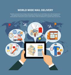 postal services online design vector image vector image