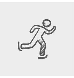 Running man sketch icon vector image