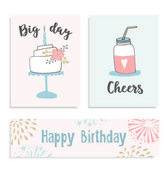 set of birthday greeting cards invitations with vector image vector image