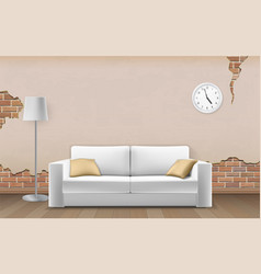 white sofa on old wall background vector image vector image