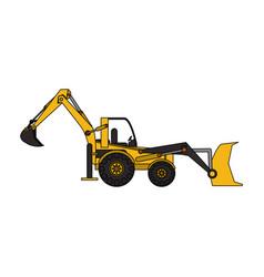 yellow backhoe icon image vector image