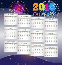 Calendar 2015 on Fireworks Background vector image vector image
