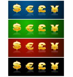 currency icons vector image vector image