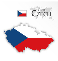 czech republic flag and map vector image vector image