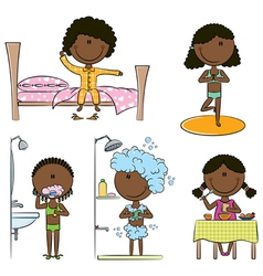 Daily Morning African-American Girls Life vector image vector image