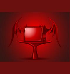 red evil retro tv vector image