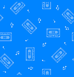 retro cassette seamless pattern music concept vector image vector image