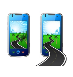 road in mobile phone vector image vector image
