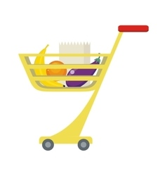 Shopping Trolley with Food Products vector image