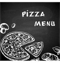 Vintage hand drawn pizza menu vector image vector image
