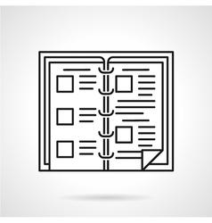 Book menu black line icon vector image