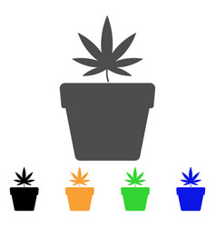 cannabis pot flat icon vector image vector image