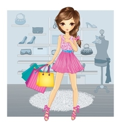 Cute Girl In Shoes Store vector image vector image