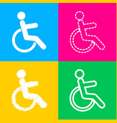 disabled sign four styles of icon on vector image vector image