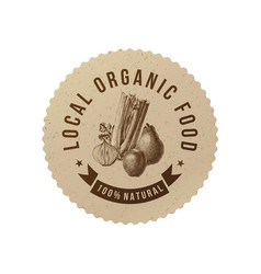 local organic food round paper emblem vector image vector image