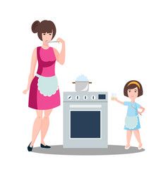 mother with the daughter cook dough vector image